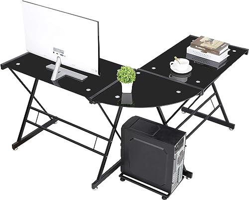 ZENY L-Shaped Corner Desk Computer Gaming Desk Glass Tabletop,Modern Home Office Writing Workstation,Black