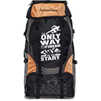 Sassie Adventure Series 55 LTR Black & Orange Rucksack for Trekking, Hiking with Shoe Compartment