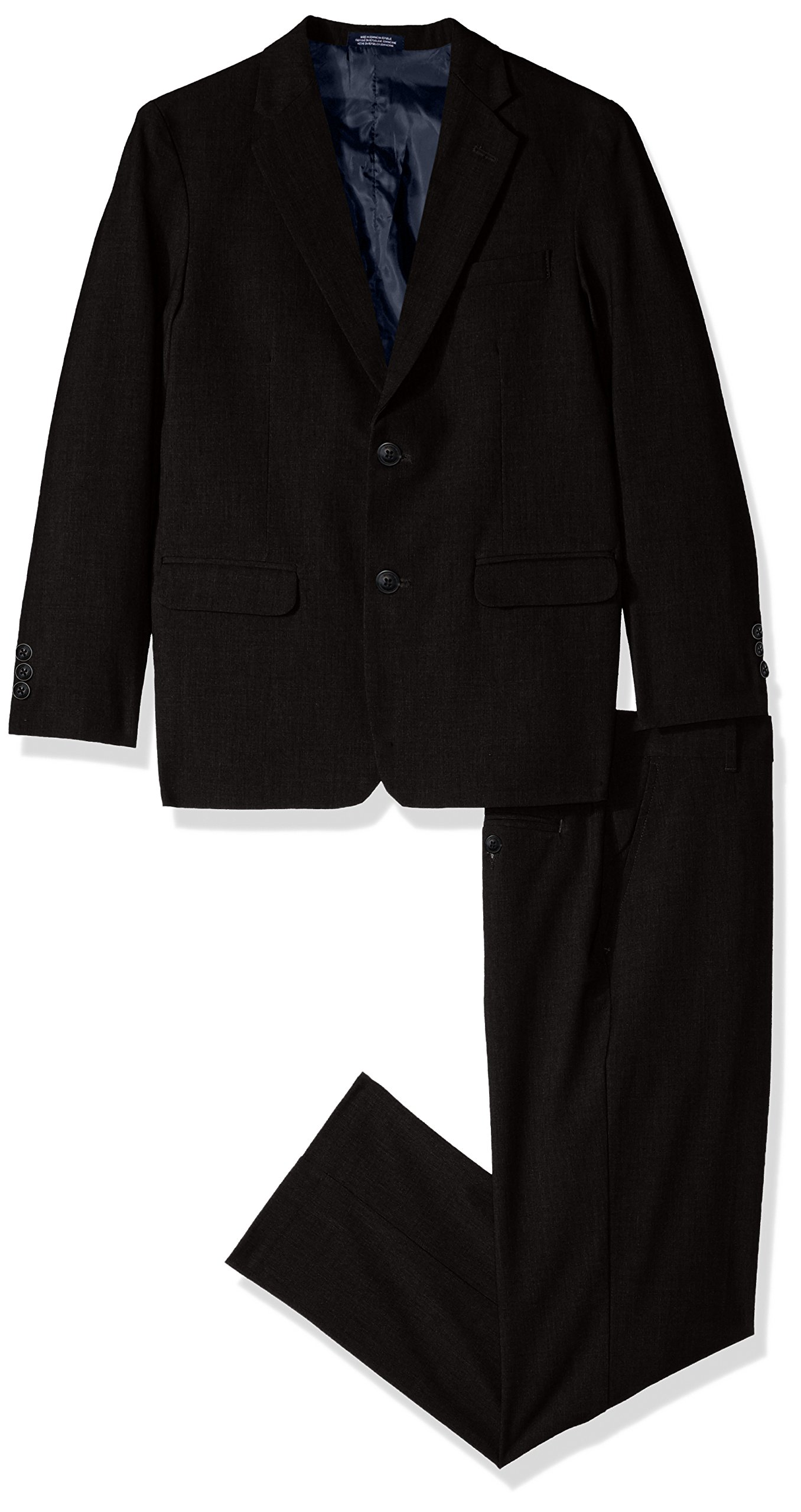 Nautica Big Boys' Two Piece Suit Set with Hemmed Pants, Black, 18