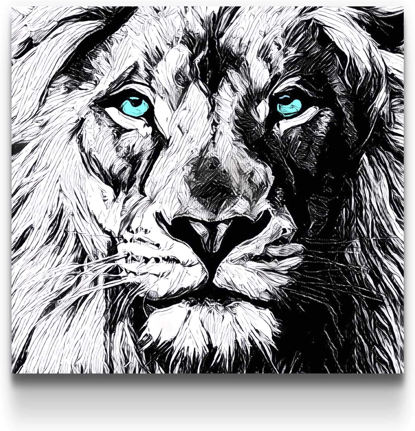 Amazon.com: Startonight Canvas Wall Art Black and White Abstract Lion Draw  Blue Eyes Animals Jungle, Framed Wall Art 32 by 32 Inches: Posters & Prints