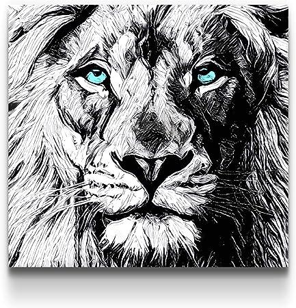 Startonight Impression Sur Toile Noir Et Blanc Dessin De Lion Art Encadre Imprimee Tableau Motif Moderne Decoration Tendu Sur Chassis Pret A Accrocher 80 X 80 Cm Amazon Fr Cuisine Maison