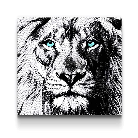 Startonight Canvas Wall Art Black And White Abstract Lion Draw Blue Eyes Animals Jungle Framed Wall Art 32 By 32 Inches