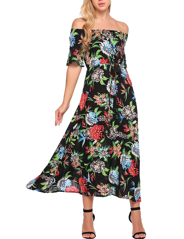 bab307f4ac0b ELESOL Women Boho Off Shoulder Half Sleeve Floral Print Casual Swing Maxi  Dress at Amazon Women's Clothing store: