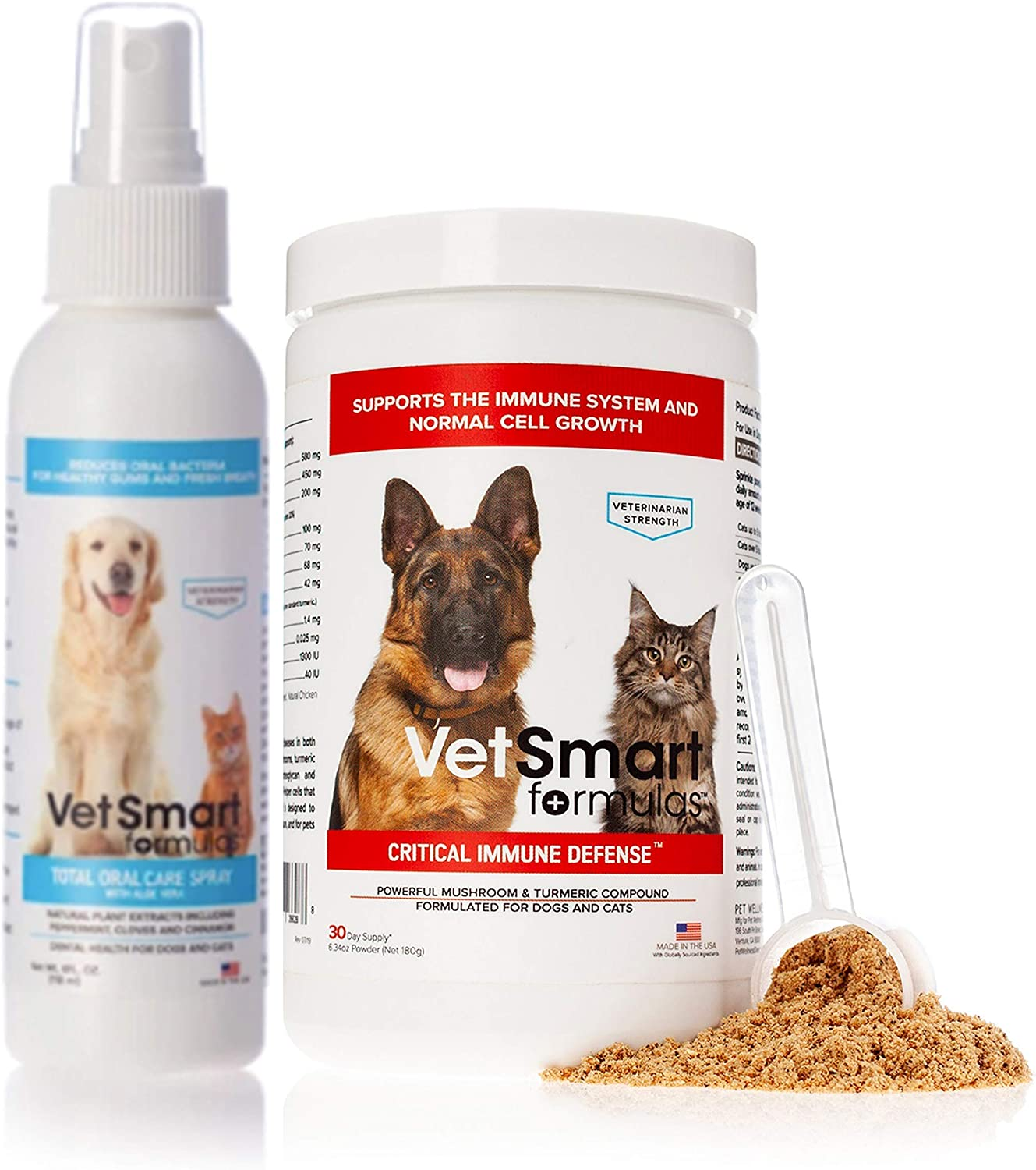 VetSmart Formulas Critical Immune Defense Bundled with Total Oral Care Spray for Dogs and Cats