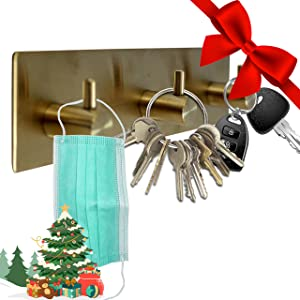 Key Holder for Wall Decorative ~ Key Organizer for Wall with 3 Key Hooks ~ Coat Hanger, Purse Hanger, Towel Hook ~ Easy Mount Key Hanger for Entryway, Bathroom, Living Room, Kitchen (Gold Finish)
