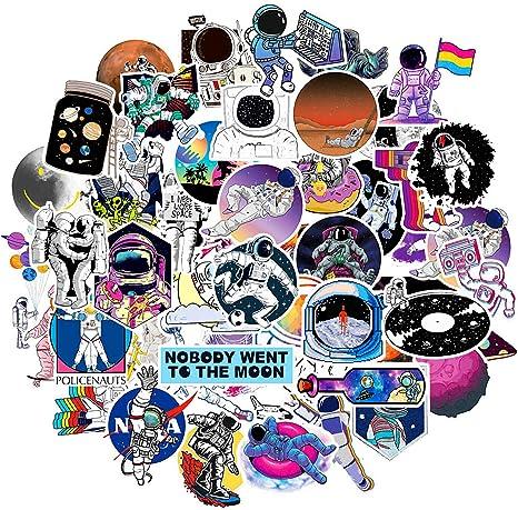 Phogary Nasa Vsco Sticker 50 Stück Wasserdichte Spaceman Aufkleber Für Kinder Teenager Dekorieren Auto Moto Helm Fahrrad Laptop Pad Skateboard Gepäck Hydro Flaschen Wasserflasche Küche Haushalt