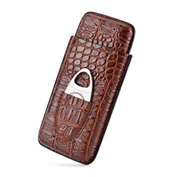 7f32161e84de Cigar Case Travel, LINSISYH Crocodile Leather Embossed 3 Cigar Tube Holder  with Premium Cigar Cutter Set