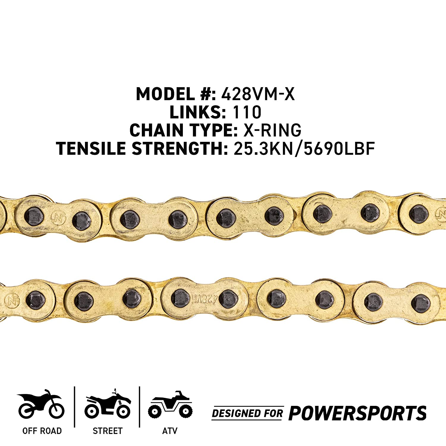 NICHE Gold 428 X-Ring Chain 140 Links With Connecting Master Link