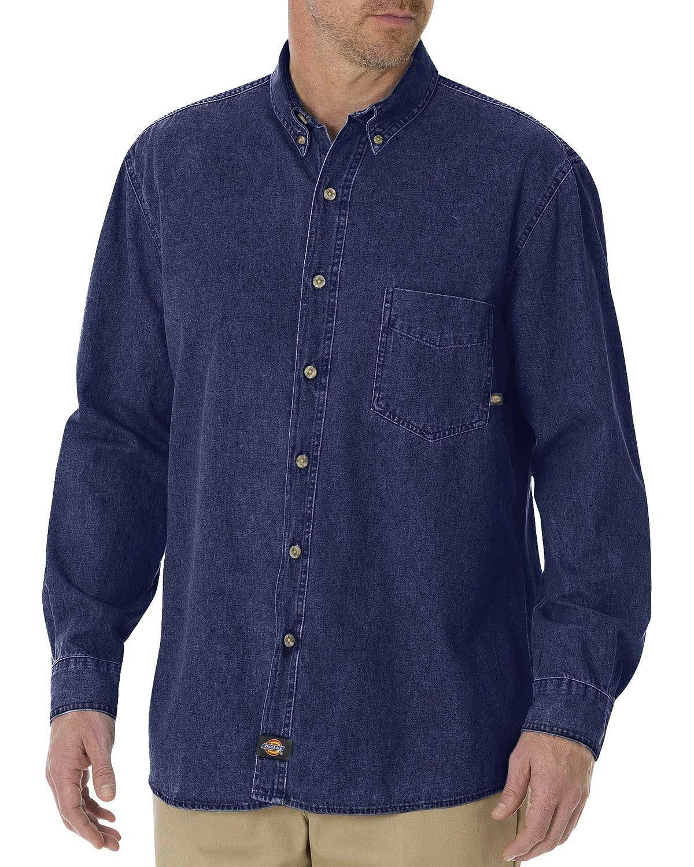 dfb2de8a11 Dickies Men s Big-Tall Long Sleeve Denim Work Shirt - Denim Fit