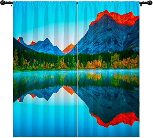 boenkj Landscape Curtains,Mountains Autumn Forest Lake Reflection Canada Natural Landscape Decorative Curtains 2 Panels Set,Bedroom Living Room Kids Room Printed Curtains 104″x84″ Dark Blue Review