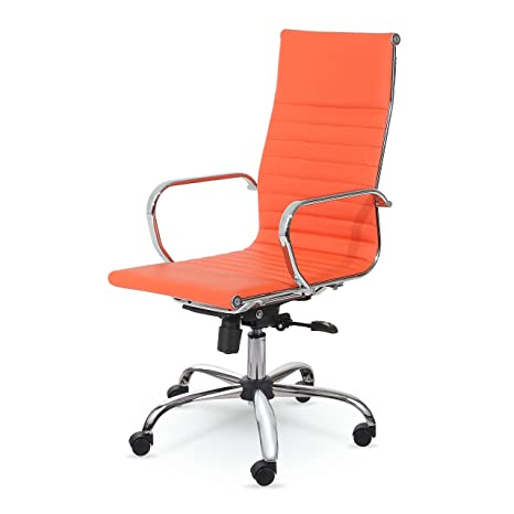 Fantastic High Back Leather Executive Swivel Office Conference Desk Chair Mzn 7911 Orange Ncnpc Chair Design For Home Ncnpcorg