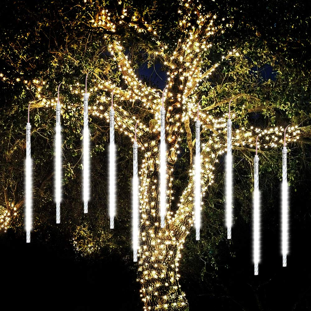 Meteor Lights,SHONCO 50cm 10 Tubes 540 LED Meteor Shower Raindrop Lights Waterproof Snow Falling Icicle Lights Outdoor 18W Cascading String Lights for Garden Party Wedding Christmas Tree Patio (White)