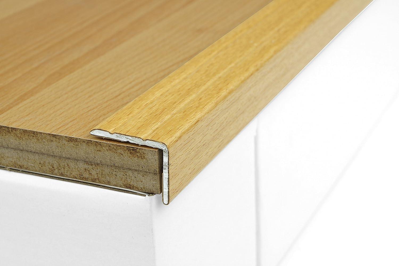 Dalsys Treppenprofil Treppenkantenprofil, Kantenschutz Alu, Lä nge 100 cm, selbstklebend, Furnier