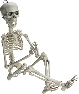 "Prextex 19"" Posable Halloween Skeleton- Full Body Halloween Skeleton with Movable /Posable Joints and 2 Sets of Body Accessories for Best Halloween Decoration"
