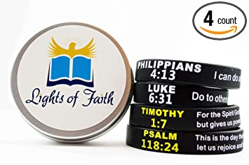Amazon christian bible verse silicone wristband bracelets christian bible verse silicone wristband bracelets family gift set with keepsake box by lights of faith negle Images