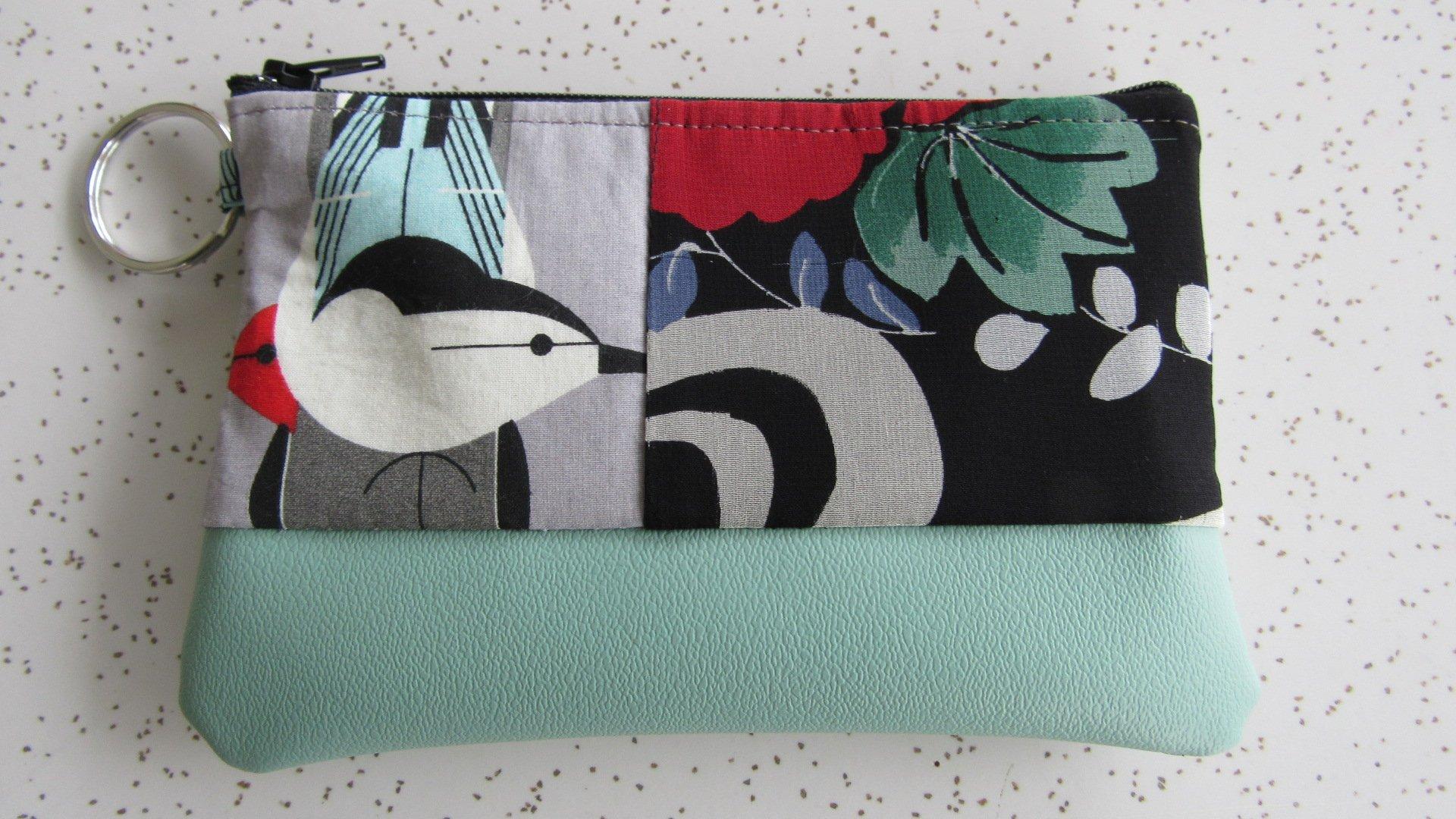 Wallet - Charley Harper Key Ring Wallet in Sea Foam Vegan Leather