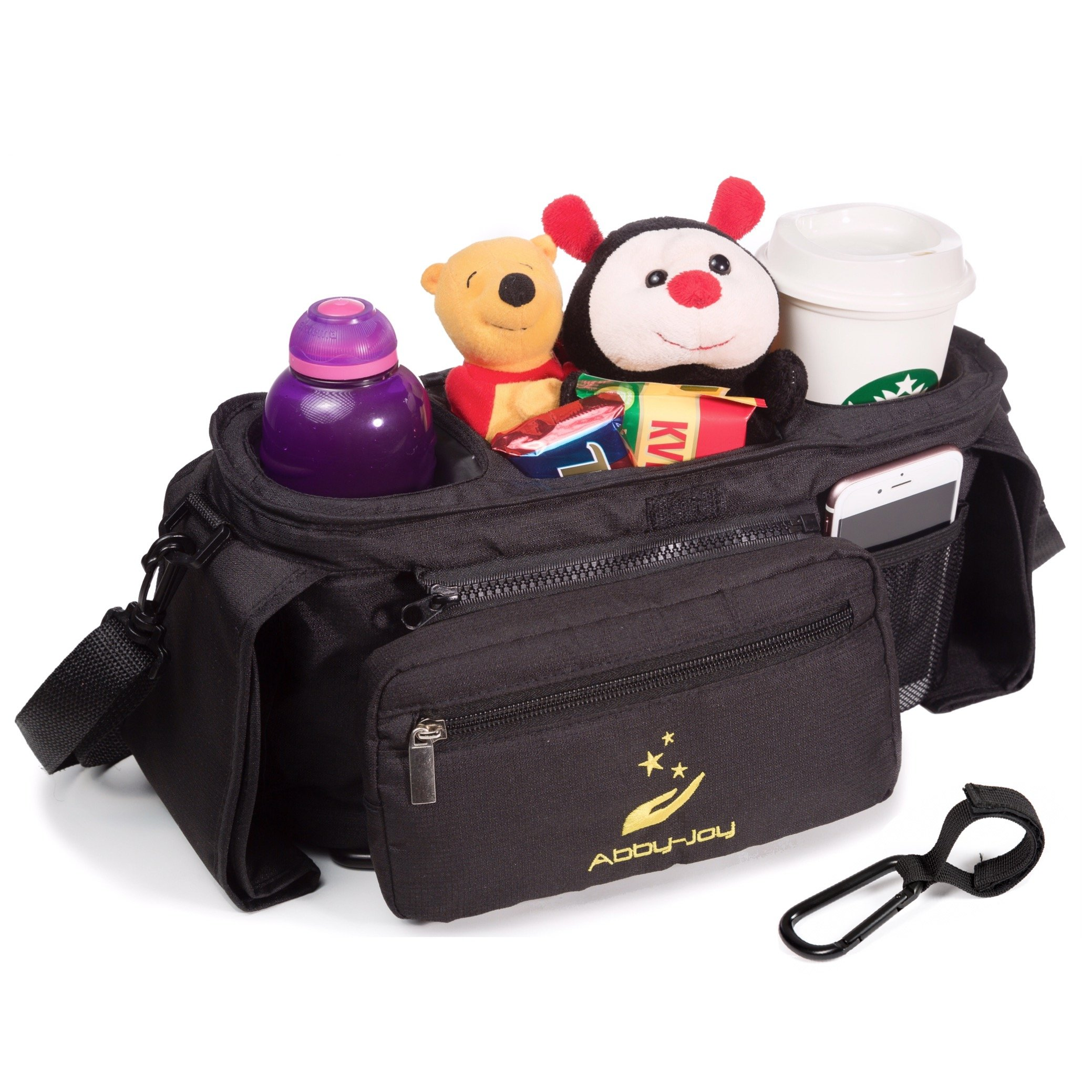 Abby-Joy Stroller Organizer Bag with Cup Holders Accessories| Including adjustable shoulder strap and one stroller Hook| Extra-large storage space for cell-phones, keys, toys, diapers