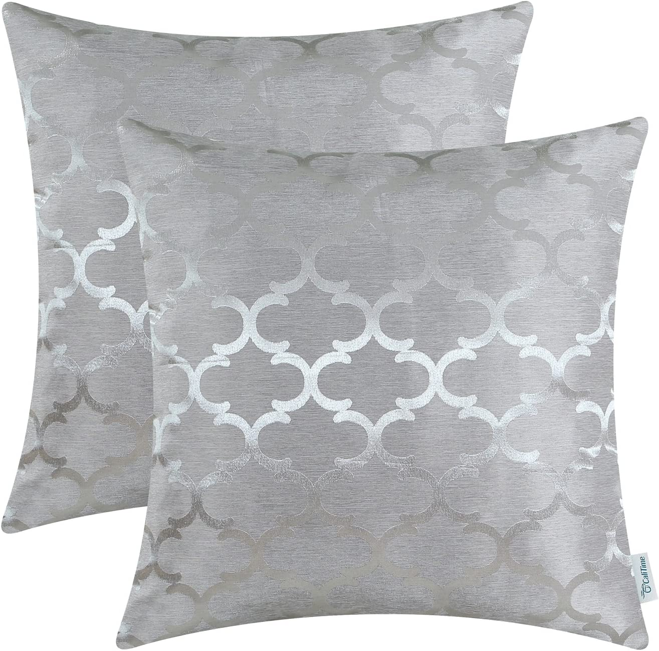 CaliTime Pack of 2 Cushion Covers Throw Pillow Cases Shells for Home Sofa Couch Modern Shining & Dull Contrast Quatrefoil Accent Geometric 20 X 20 Inches Silver Gray