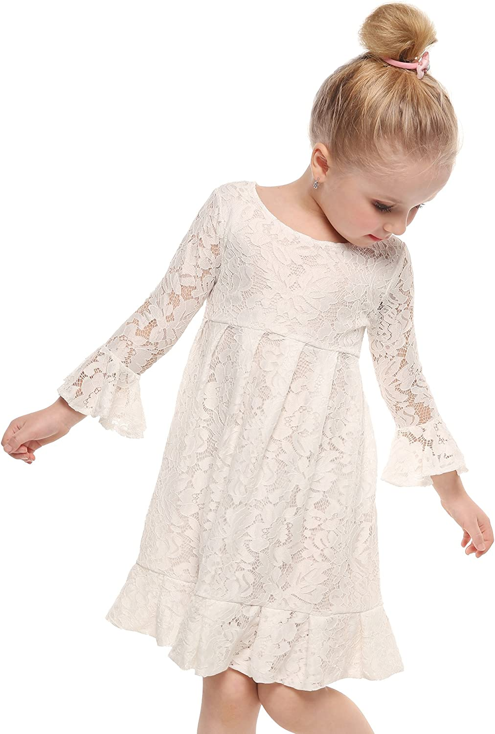 Arshiner Lace Flower Girl Maxi Dress Long Sleeve Wedding Party Princess Boho Gowns 817j%2BQ7XGRL