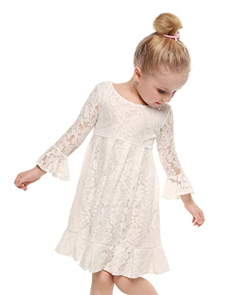 2d50e8a890ed Amazon.com  Arshiner Girl Lace Dress 3 4 Sleeves Wedding Party Dress ...
