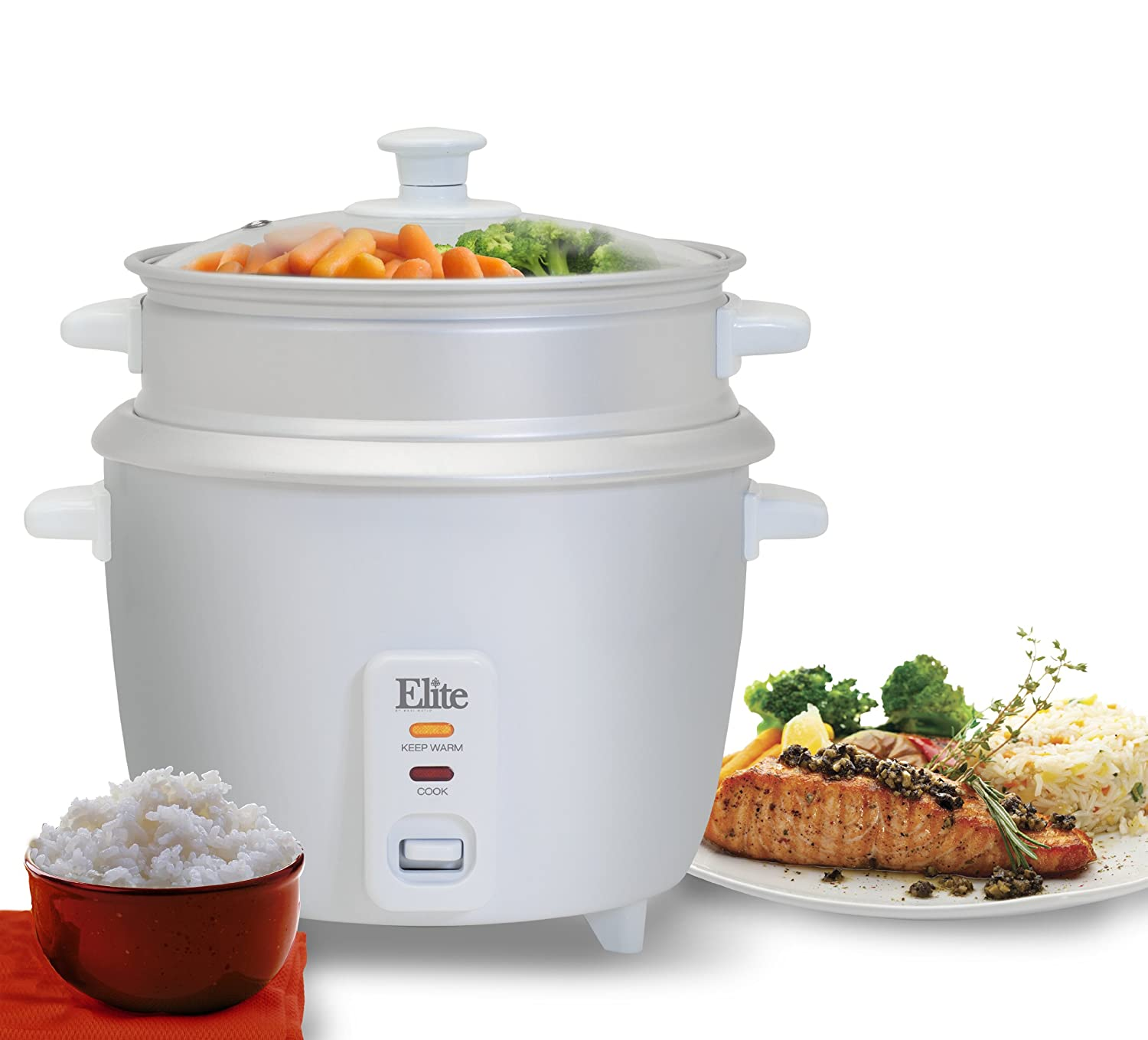 Elite Cuisine ERC-003 Maxi-Matic 6 Cup Rice Cooker with Glass Lid, White