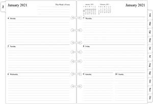 """2021 Weekly & Monthly Planner Refill, 5-1/2"""" x 8-1/4"""", Runs from January 2021 to December 2021, Desk Size 4, 7-Hole Punched"""