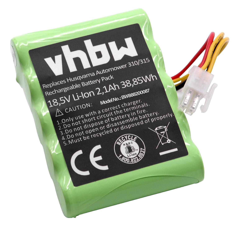 310 Modell 2017 vhbw Li-ION Batterie 2100mAh 18.5V 310 Modell 2016 pour Tondeuse /à Gazon Robot Tondeuse Husqvarna Automower 310 Modell 2015