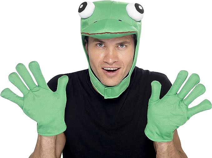 Smiffys-22164 Kit de rana, con capucha y guantes, color verde, Tamaño único (Smiffy's 22164) , color/modelo surtido