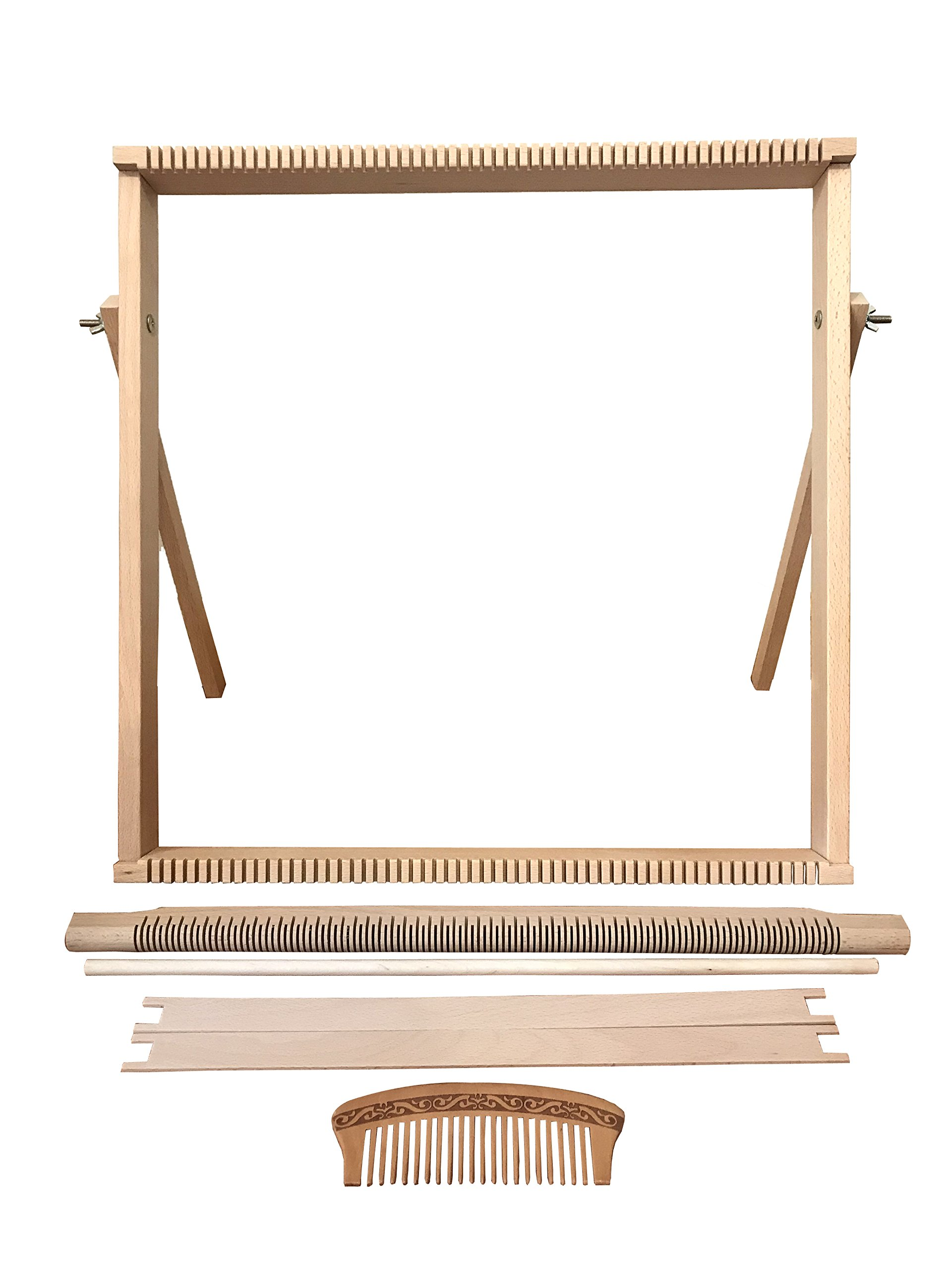 Weaving Loom Kit Large (50 cm x 50 cm) with Stand, Wooden Looming Set, Frame Loom with Heddle Bar | Beech Wood Tapestry Loom by Craft Boutique