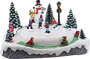 Christmas Village Skating Pond | Animated Lighted Musical Snow Village | Perfect Addition to Your Christmas Indoor Decorations & Holiday Displays