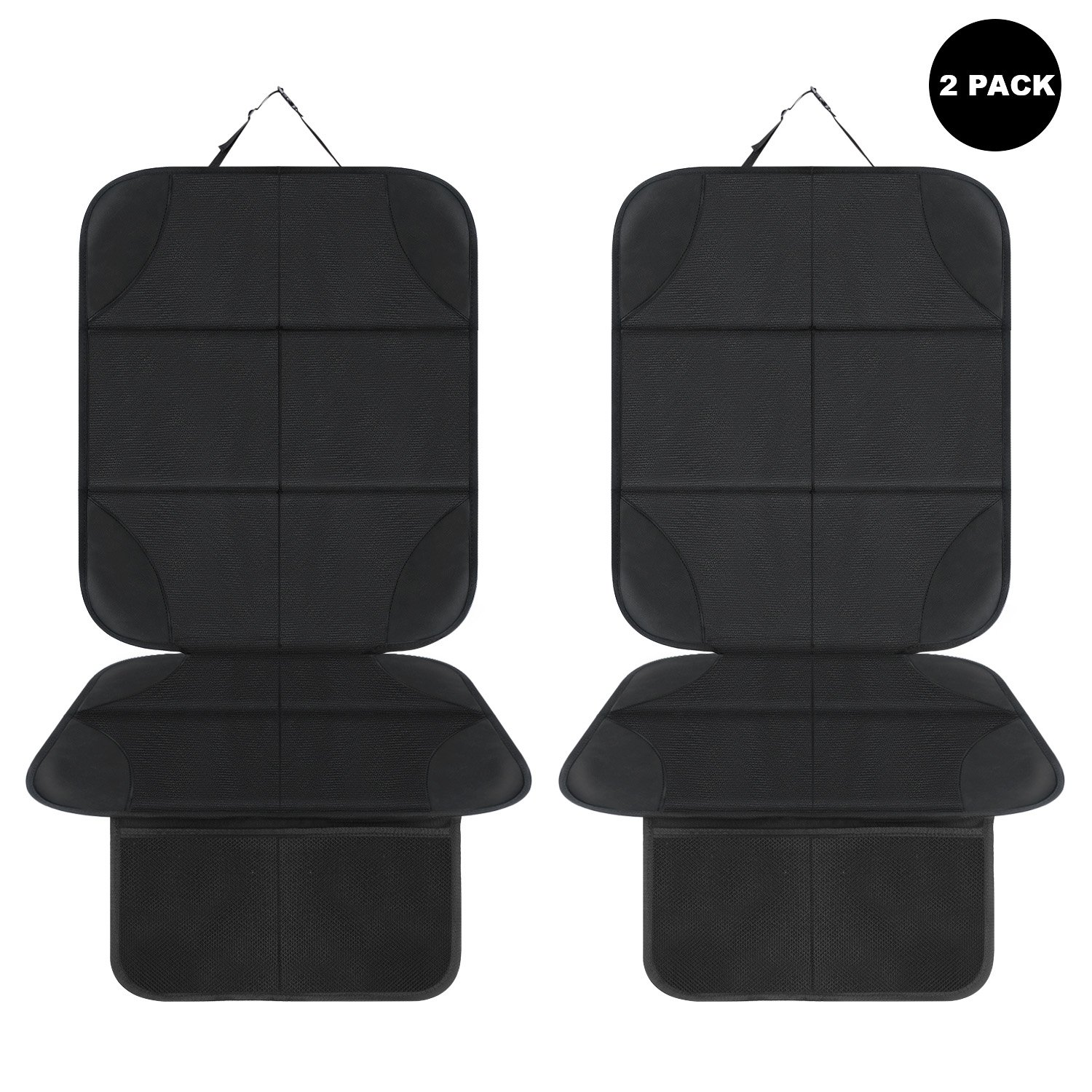 AOAFUN 2 Pack Car Seat Protector,with Thickest Padding,Best Protection for Cars Seats, Cover Pad Protects Automotive Vehicle Leather or Cloth Upholstery. (Black)