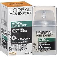 L'Oreal Paris Men Expert Hydra Sensitive Moisturiser For Men, Alcohol-Free, 24 Hour Hydration for Sensitive Skin, 50ml…