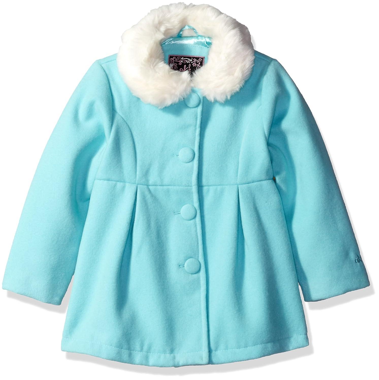 Ok Kids! Girls' Wool Coat with Faux Fur Trim 108