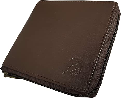 Large Brown Genuine Leather RFID Zip Around Coin//Wallet//Purse Boxed