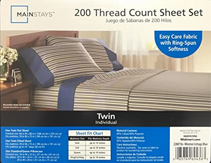 Mainstays 200 Thread Count Sheet Set