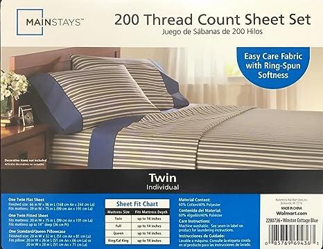 Mainstays 200 hilos juego de sábanas