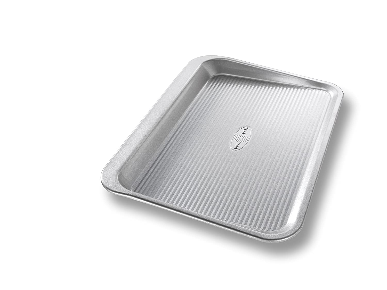 USA Pan Bakeware 10105SC Easy Slide Non Stick Cookie Sheet Pan Small Silver