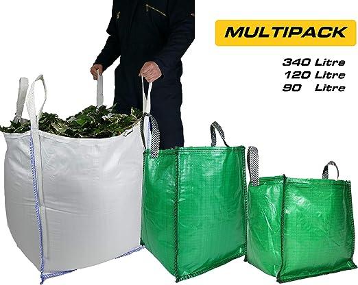 Bolsas de basura para jardín – Multipack – 340, 120 y 90 litros, grado premium, asas y costuras resistentes: Amazon.es: Jardín