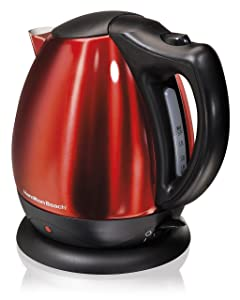 Hamilton Beach Stainless Steel Red Ensemble Electric Kettle, 10-Cup