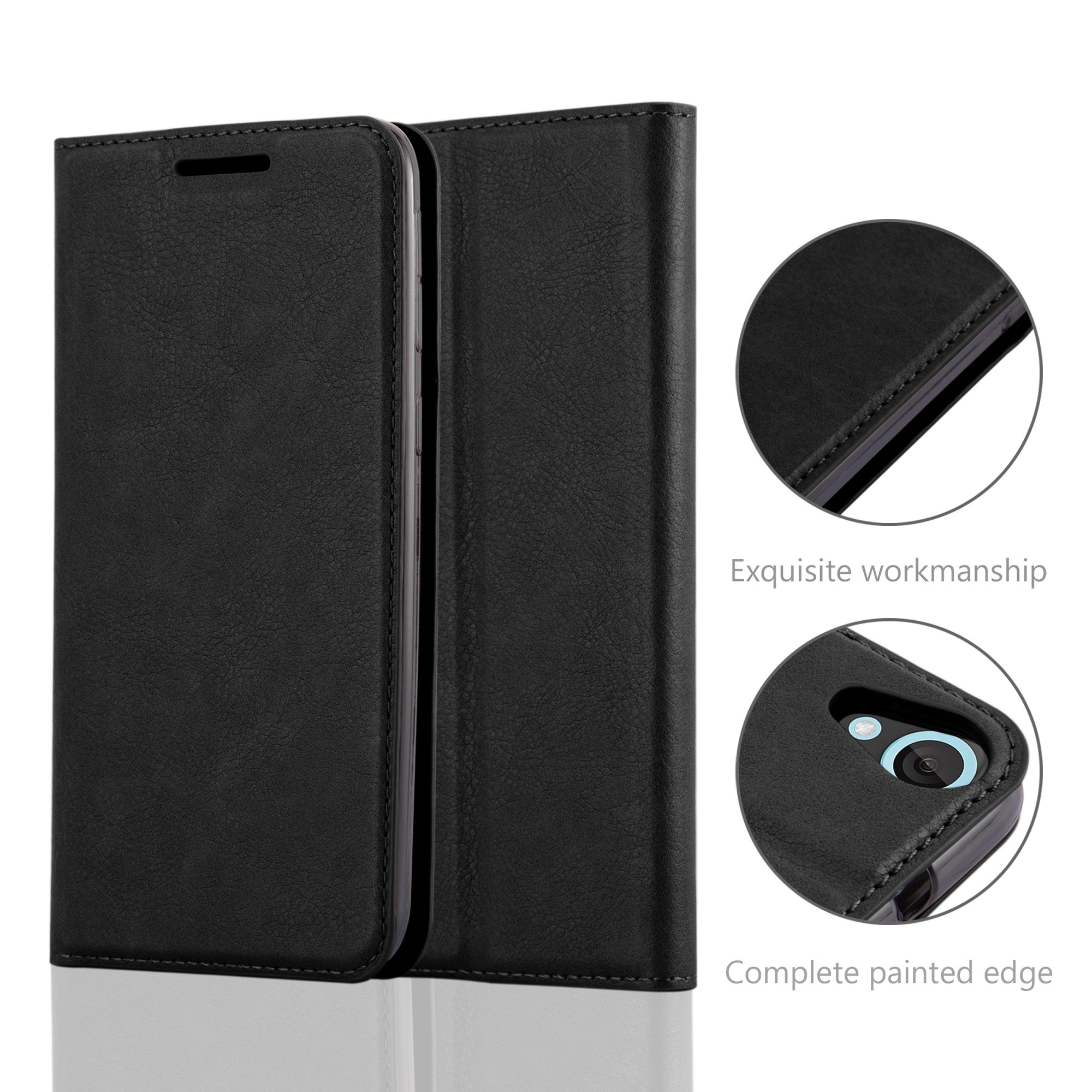 Cadorabo Case works with HTC DESIRE 820 Book Case in NIGHT BLACK (Design INVISIBLE CLOSURE) – with Magnetic Closure, Stand Function and Card Slot – Wallet Case Etui Cover PU Leather by Cadorabo (Image #5)