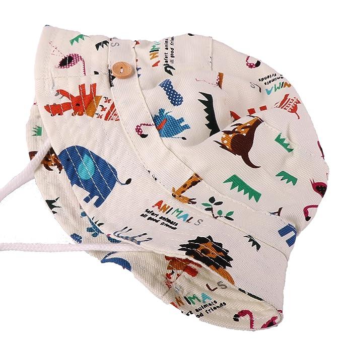 204f1f9f9d12 Tyidalin Chapeau de Soleil Bebe Garcon Bonnet Bob de Plage Anti UV Pliable  ete en Coton pour Enfant, Ecru, Circonference Chapeau 54cm 4-6 ans -  X-Large  ...