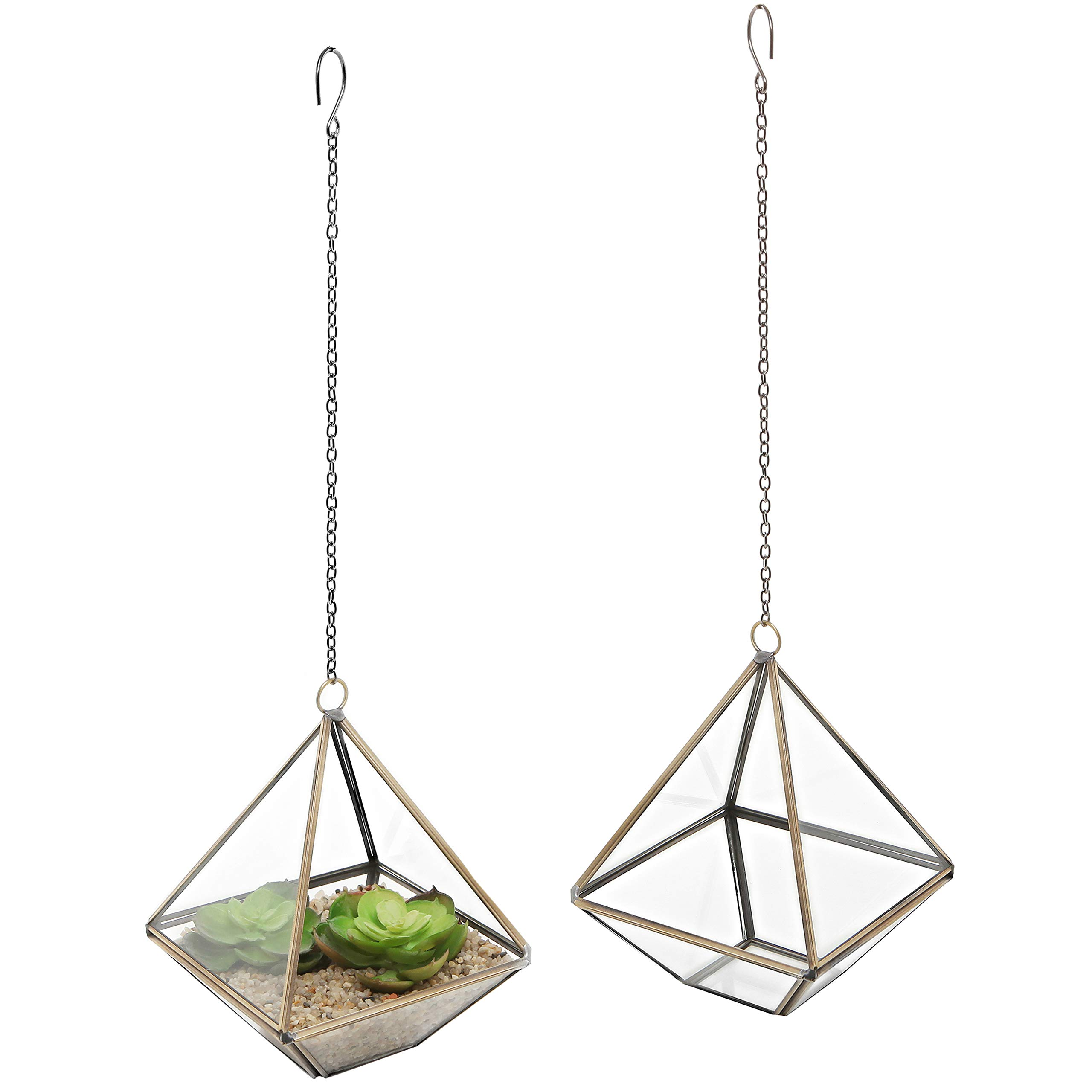 MyGift 5-Inch Hanging Glass & Metal Frame Pyramid Terrarium Planter, Set of 2 by MyGift