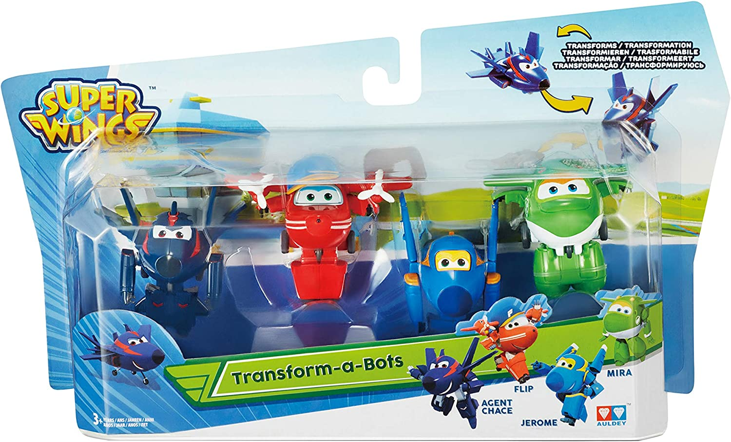 Super Wings Agent Chase, Flip, Jerome, Mira Juguete | Figuras de 5 cm, Color Mixto, 0 (Alpha Animation & Toys Ltd EU720040C)