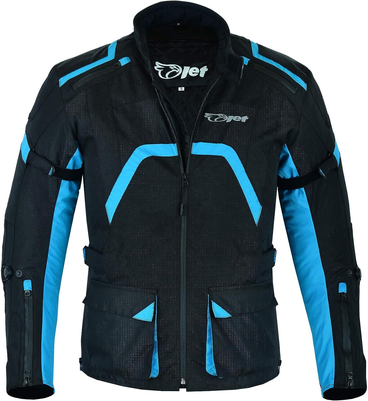 2XL, Black Blue Jet Motorcycle Motorbike Jacket Mens Textile Waterproof Armoured Mid Length Zip Cuff Rear Pocket ARMADA