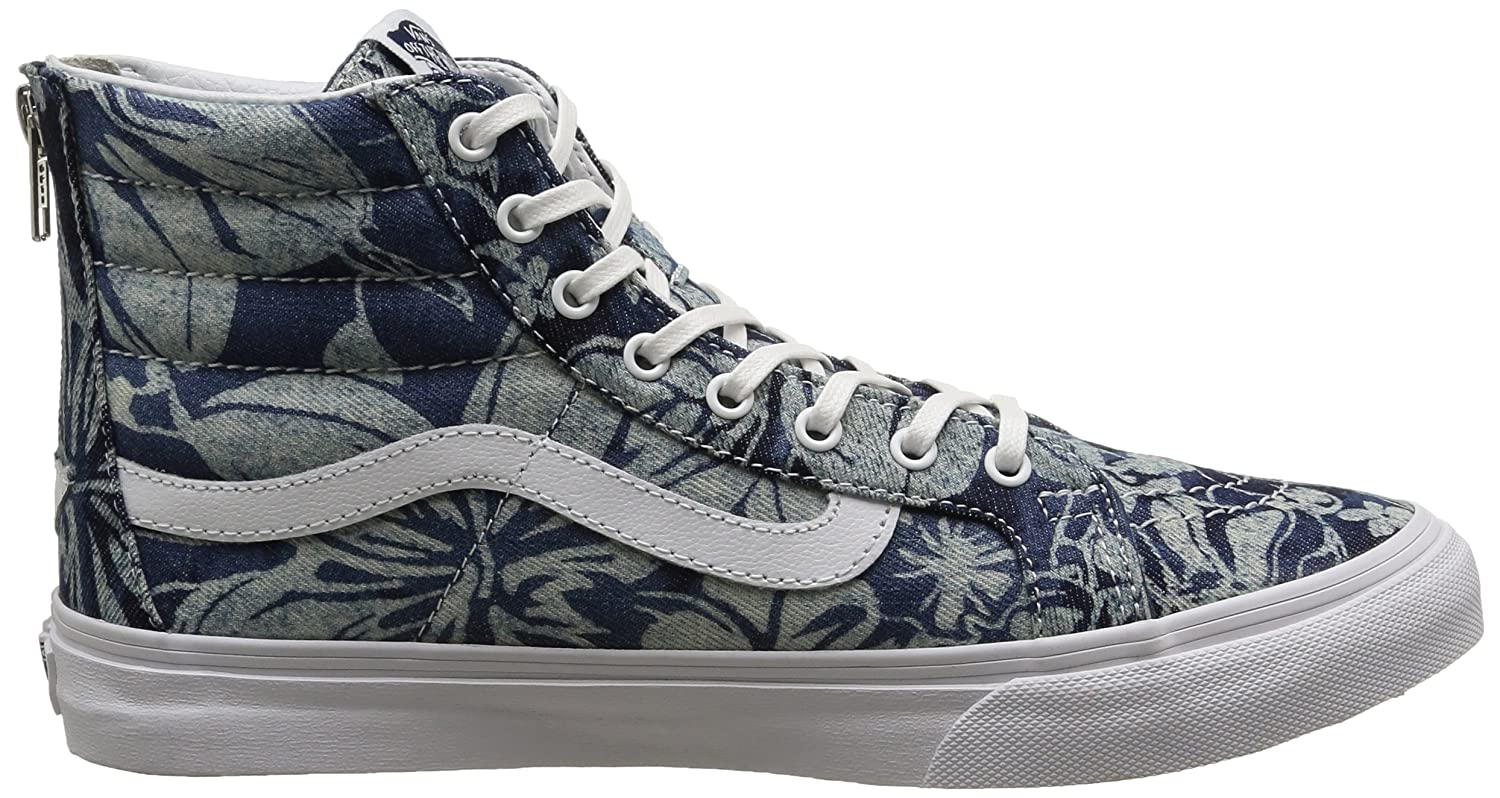 Vans Unisex Leather SK8-Hi Slim Zip Sneaker B011PLYGOS 7 B(M) US|Blue/True White
