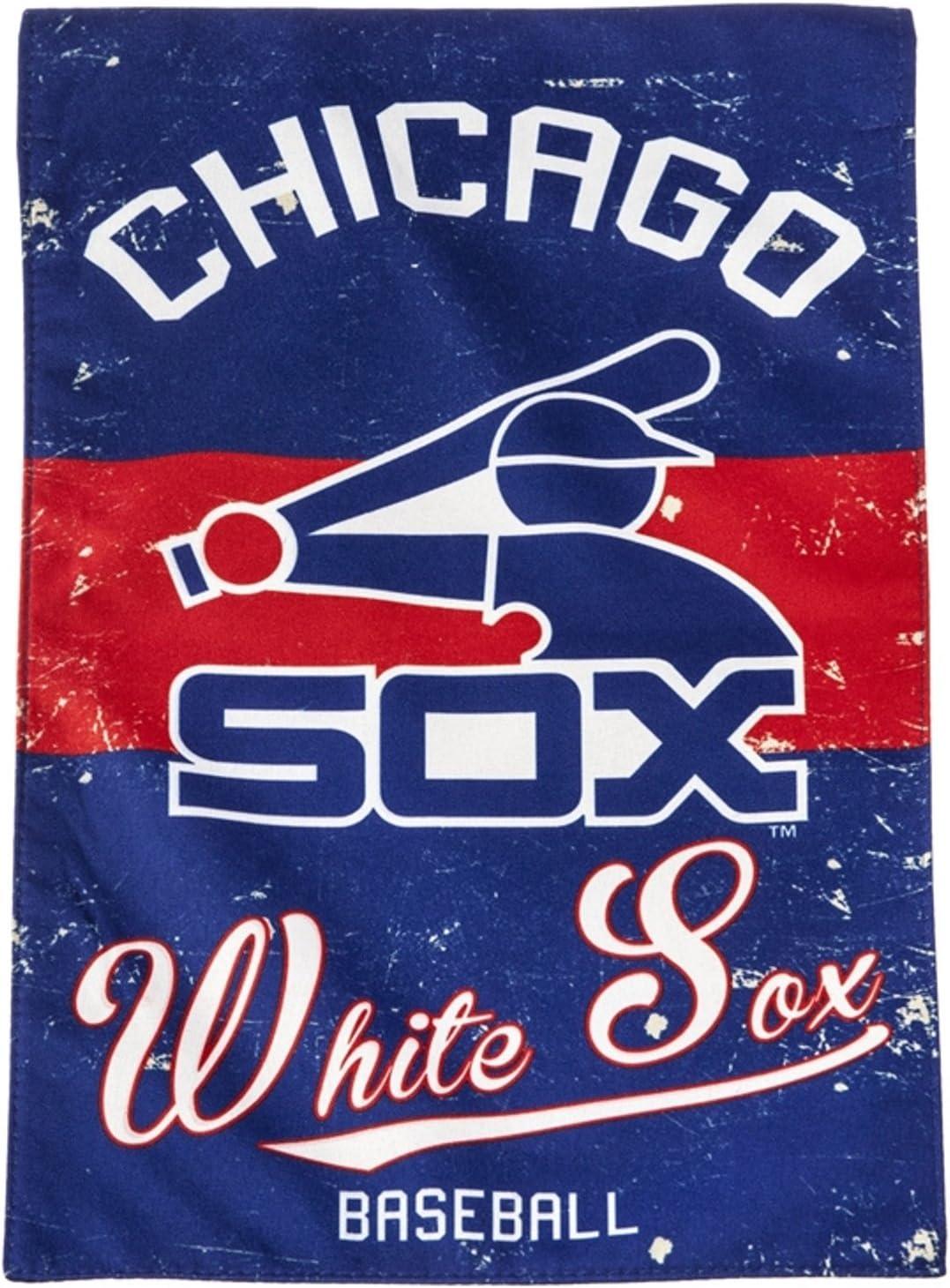 Stockdale Chicago White Sox EG Vintage Garden Flag Premium 2-Sided Retro Banner Baseball