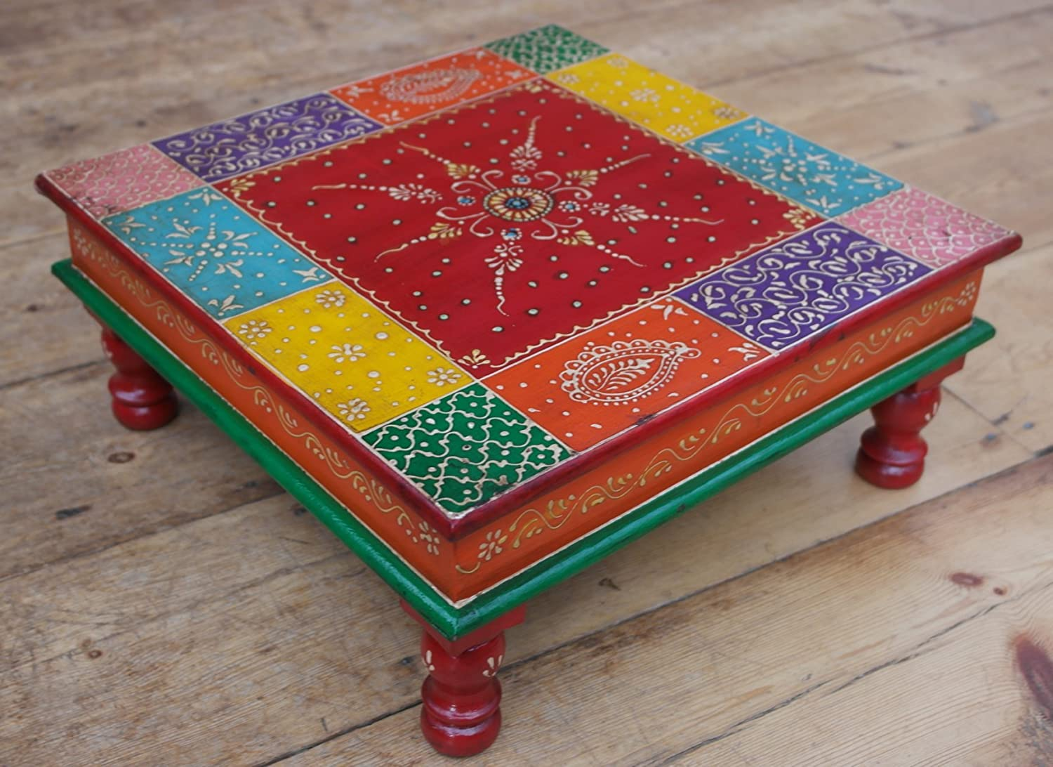 Classic Indian painted wooden Bajot table Vectis