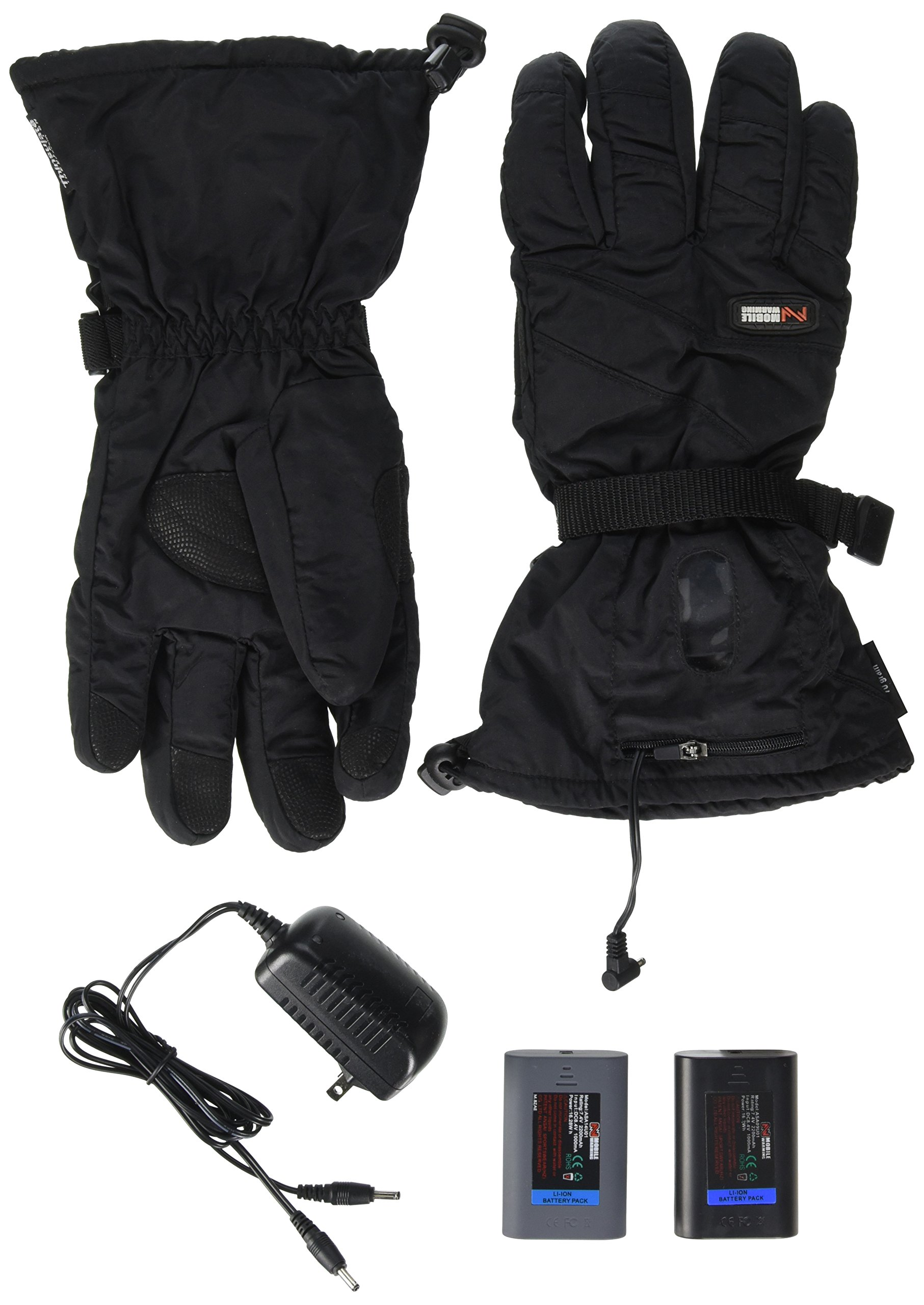 Mobile Warming TEXTILE Glove Heated Textile Motorcycle Glove (Black, Large)