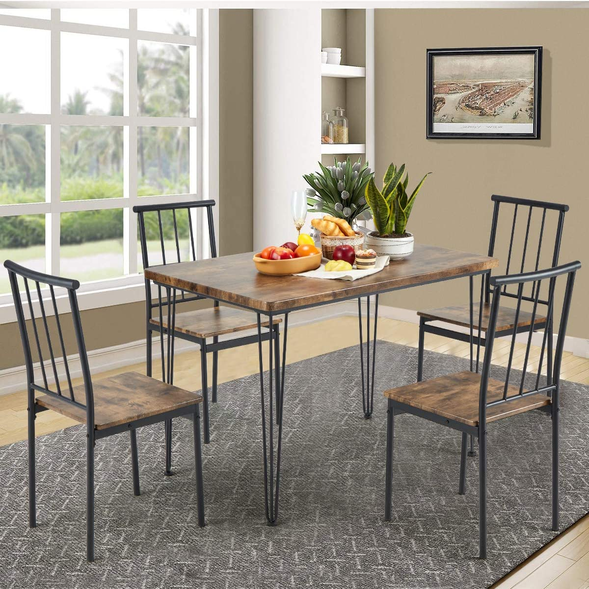 MELLCOM 9 Piece Dining Table Set with 9 Benches Modern Compact Iron Frame  MDF Board, PVC Chairs Set for Home, Bar, Kitchen 9 Person Brown