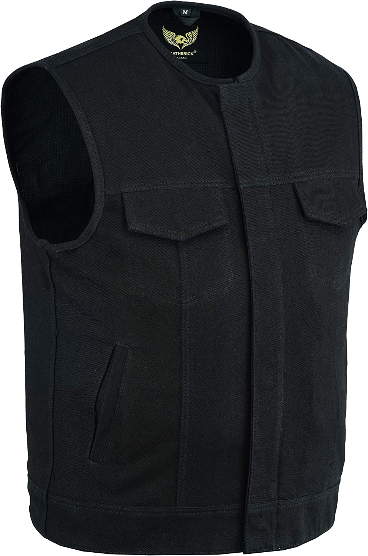 Leatherick Chaleco estilo motero sin cuello de mezclilla pesado con ribete de cuero para hombre con bolsillos profundos estilo SOA